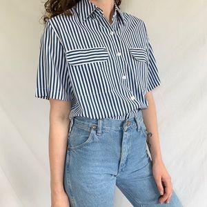 Vintage 80s 90s Blue Striped Short Sleeve Shirt